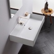 Bathroom Sink Rectangular White Ceramic Wall Mounted or Vessel Sink Scarabeo 8031/R-80