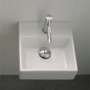 Bathroom Sink Square White Ceramic Wall Mounted or Vessel Sink Scarabeo 8036