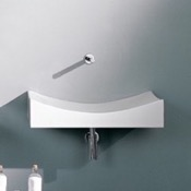 Bathroom Sink Rectangular White Ceramic Wall Mounted or Vessel Sink Scarabeo 8038