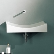 Bathroom Sink Rectangular White Ceramic Wall Mounted or Vessel Sink Scarabeo 8039