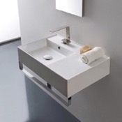 Bathroom Sink Rectangular Ceramic Wall Mounted Sink With Counter Space, Towel Bar Included Scarabeo 5114-TB