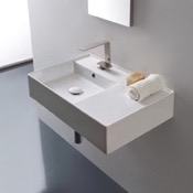 Bathroom Sink Rectangular Ceramic Wall Mounted or Vessel Sink With Counter Space Scarabeo 5114