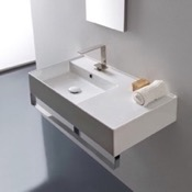 Bathroom Sink Rectangular Ceramic Wall Mounted Sink With Counter Space, Includes Towel Bar Scarabeo 5115-TB