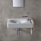 Bathroom Sink Rectangular White Ceramic Wall Mounted Sink With Towel Holder Scarabeo 1511