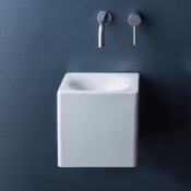 Bathroom Sink Square White Ceramic Wall Mounted or Vessel Sink Scarabeo 1521