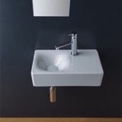 Bathroom Sink Rectangular Ceramic Wall Mounted or Vessel Sink With Counter Space Scarabeo 1523
