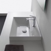 Bathroom Sink Square White Ceramic Drop In Sink Scarabeo 5108