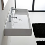 Bathroom Sink Rectangular White Ceramic Wall Mounted or Vessel Sink Scarabeo 8031/R-120B