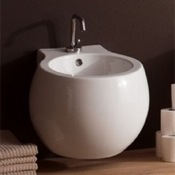 Bidet Stylish Round Ceramic Wall Mounted Bidet Scarabeo 8106