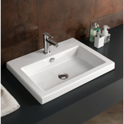 Bathroom Sink Rectangular White Ceramic Drop In or Wall Mounted Sink Tecla CAN01011