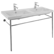 Bathroom Sink Double Basin Ceramic Console Sink and Polished Chrome Stand Tecla CAN04011-CON