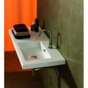 Bathroom Sink Rectangular White Ceramic Wall Mounted or Drop In Sink Tecla CO02011