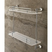 Bathroom Shelf 16 Inch Double Tier Plexiglass Bathroom Shelf With Railing Toscanaluce 1542