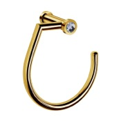 Towel Ring Wall-Mounted Gold Brass Towel Ring With White Crystal Windisch 85513OB