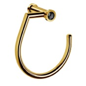 Towel Ring 7 Inch Gold Finished Towel Ring With Black Crystal Windisch 85514ON