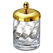 Bathroom Jar Cotton Swabs Jar Made From Twisted Glass and Gold Brass Windisch 88801O