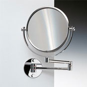 Makeup Mirror Wall Mounted Double Face Brass 3x, 5x, 5xop, or 7xop Magnifying Mirror Windisch 99141