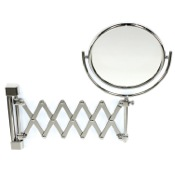 Makeup Mirror Wall Mounted Brass Extendable Double Face 3x, 5x, 5xop, or 7xop Magnifying Mirror Windisch 99148