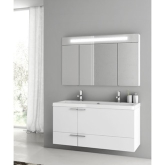 Bathroom Vanity 47 Inch Glossy White Bathroom Vanity Set ACF ANS334