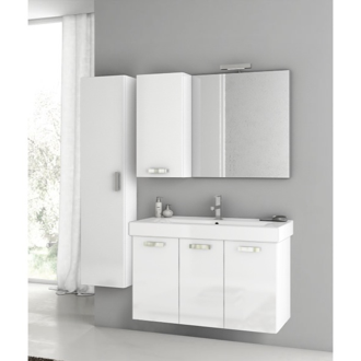 Bathroom Vanity 39 Inch Glossy White Bathroom Vanity Set ACF C130