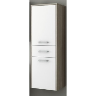 Storage Cabinet Glossy White and Larch Canapa Tall Storage Cabinet ACF C133WL