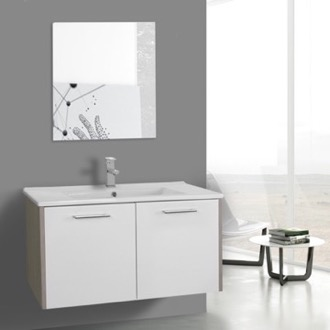 Bathroom Vanity 33 Inch White and Larch Canapa Bathroom Vanity Set, Wall Mounted, Mirror Included ACF NI25