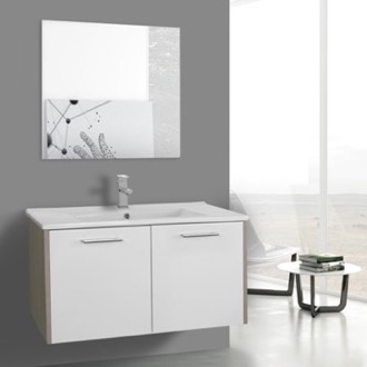 Bathroom Vanity 33 Inch White and Larch Canapa Bathroom Vanity Set, Wall Mounted, Mirror Included ACF NI26
