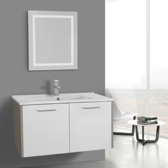 Bathroom Vanity 33 Inch White and Larch Canapa Bathroom Vanity Set, Wall Mounted, Lighted Mirror Included ACF NI27