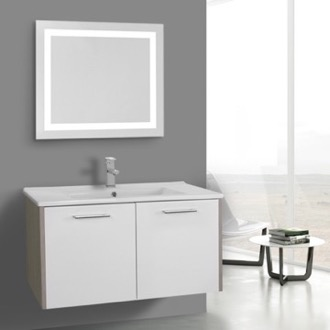 Bathroom Vanity 33 Inch White and Larch Canapa Bathroom Vanity Set, Wall Mounted, Lighted Mirror Included ACF NI28