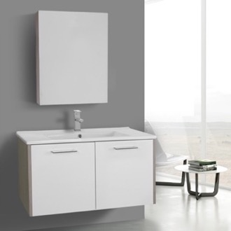 Bathroom Vanity 33 Inch Glossy White and Larch Canapa Bathroom Vanity Set, Wall Mounted, Medicine Cabinet Included ACF NI45