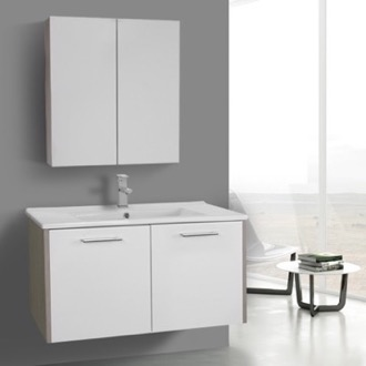 Bathroom Vanity 33 Inch Glossy White and Larch Canapa Bathroom Vanity Set, Wall Mounted, Medicine Cabinet Included ACF NI46