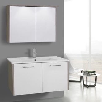 Bathroom Vanity 33 Inch White and Larch Canapa Bathroom Vanity Set, Wall Mounted ACF NI29