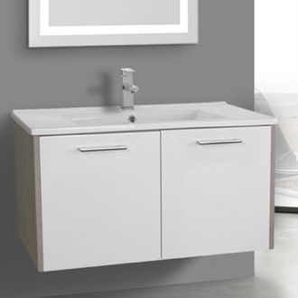 Bathroom Vanity 33 Inch White and Larch Canapa Bathroom Vanity Set, Wall Mounted ACF NI20