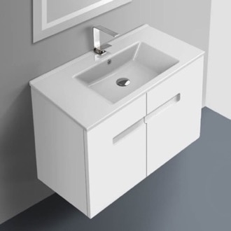Bathroom Vanity 32 Inch Vanity Cabinet With Fitted Sink ACF NY32-Glossy White