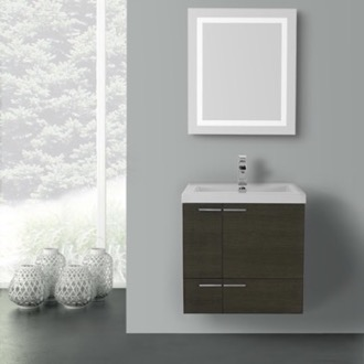 Bathroom Vanity 23 Inch Grey Oak Bathroom Vanity with Fitted Ceramic Sink, Wall Mounted, Lighted Mirror Included ACF ANS477