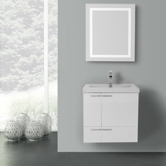 Bathroom Vanity 23 Inch Glossy White Bathroom Vanity with Fitted Ceramic Sink, Wall Mounted, Lighted Mirror Included ACF ANS461