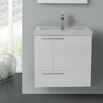 Etonnant 23 Inch Glossy White Bathroom Vanity With Fitted Ceramic Sink, Wall Mounted
