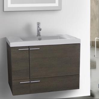 Bathroom Vanity 31 Inch Grey Oak With Ed Ceramic Sink Wall Mounted Acf
