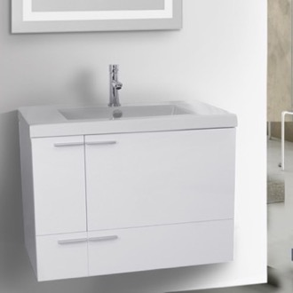 31 inch glossy white bathroom vanity with fitted ceramic sink wall mounted - Wall Mounted Bathroom Vanity