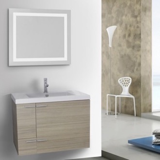 Bathroom Vanity 31 Inch Larch Canapa Bathroom Vanity with Fitted Ceramic Sink, Wall Mounted, Lighted Mirror Included ACF ANS543