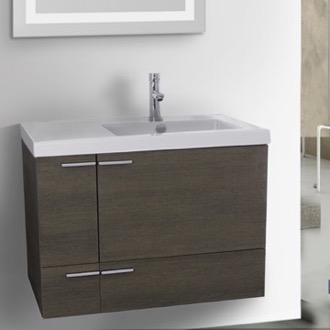 Bathroom Vanity 31 Inch Grey Oak Bathroom Vanity with Fitted Ceramic Sink, Wall Mounted ACF ANS350