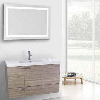 Bathroom Vanity 39 Inch Larch Canapa Bathroom Vanity with Fitted Ceramic Sink, Wall Mounted, Lighted Mirror Included ACF ANS607