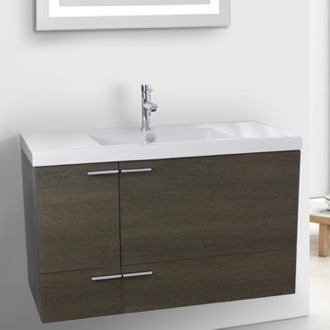 Bathroom Vanity 39 Inch Grey Oak Bathroom Vanity with Fitted Ceramic Sink, Wall Mounted ACF ANS358