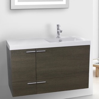 Bathroom Vanity 39 Inch Grey Oak Bathroom Vanity with Fitted Ceramic Sink, Wall Mounted ACF ANS362