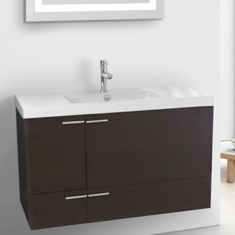 Bathroom Vanity 39 Inch Wenge Bathroom Vanity with Fitted Ceramic Sink, Wall Mounted ACF ANS357