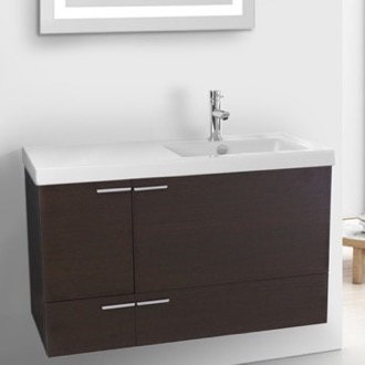 Bathroom Vanity 39 Inch Wenge Bathroom Vanity with Fitted Ceramic Sink, Wall Mounted ACF ANS361