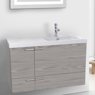 Bathroom Vanity 39 Inch Grey Walnut Bathroom Vanity with Fitted Ceramic Sink, Wall Mounted ACF ANS1421