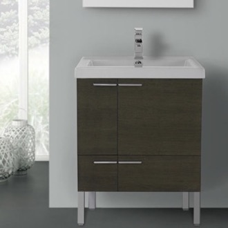 Bathroom Vanity 23 Inch Vanity Cabinet With Fitted Sink ACF ANS30-Grey Oak