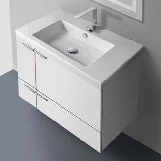 Bathroom Vanity 31 Inch Vanity Cabinet With Fitted Sink ACF ANS31-Glossy White