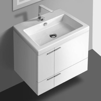 Bathroom Vanity 23 Inch Vanity Cabinet With Fitted Sink ACF ANS32-Glossy White